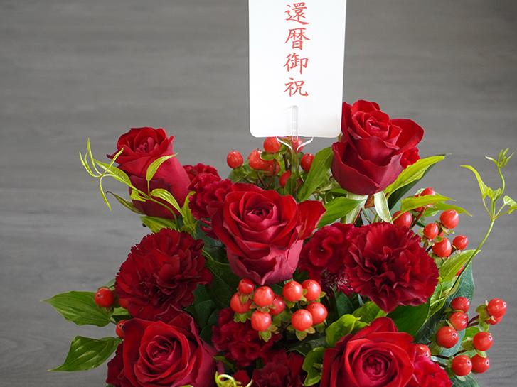 還暦のお祝いにオススメの赤い花のアレンジメント画像