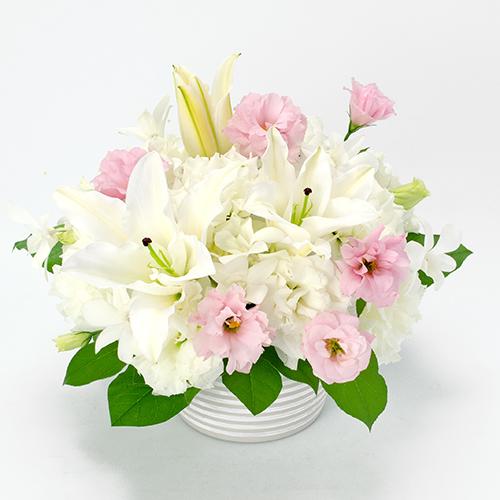 ユリとトルコキキョウのご供花の画像