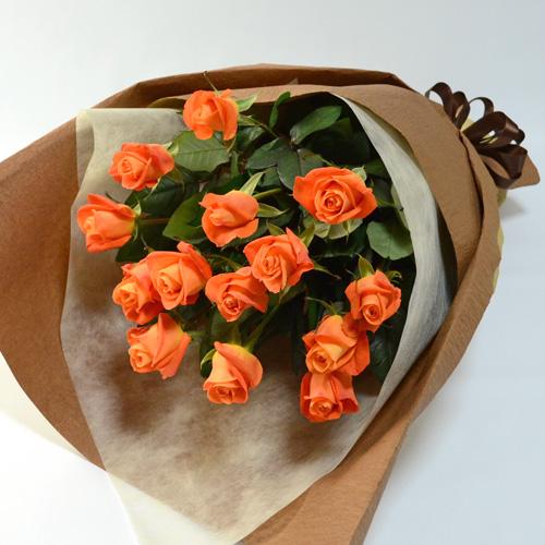 14本のオレンジのバラの花束の画像
