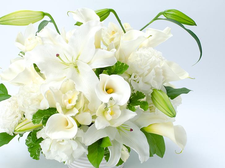 ユリとカラーのご供花の画像