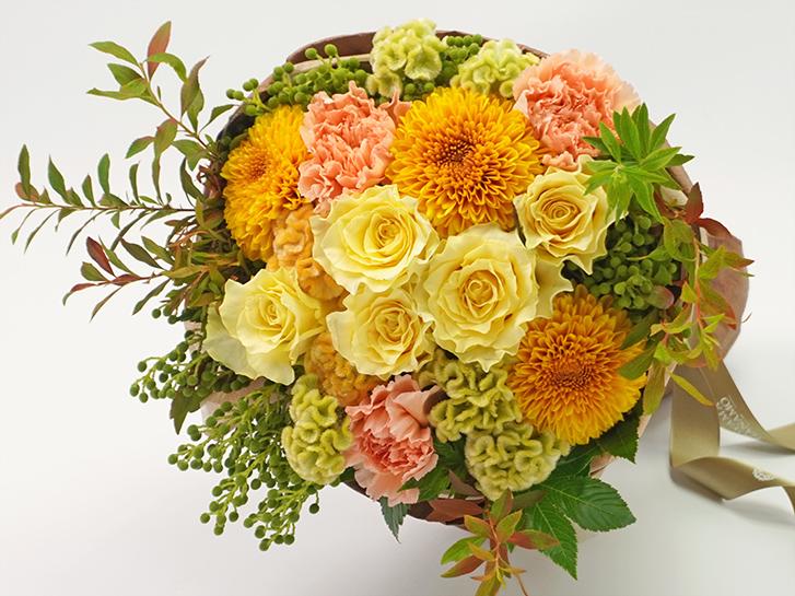 黄色のバラとマムの敬老の日花束