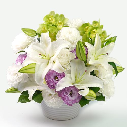 カサブランカとシンビジュームのお供え花